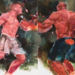 "Boxers - 20"" X 32"" - Oil on Artboard"