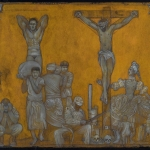 Crucifixion With Muscleman - pencil, gouache, gold acrylic on board