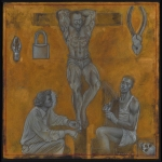 Crucifixion With Seated Figures - pencil, gouache, gold watercolour on board