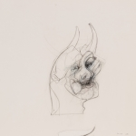 """Self Portrait with Horns - 12"""" x 15"""" - Pencil on Paper"""